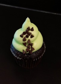 Mint Chocolate Chip-Chocolate cake topped with mint buttercream and chocolate chips